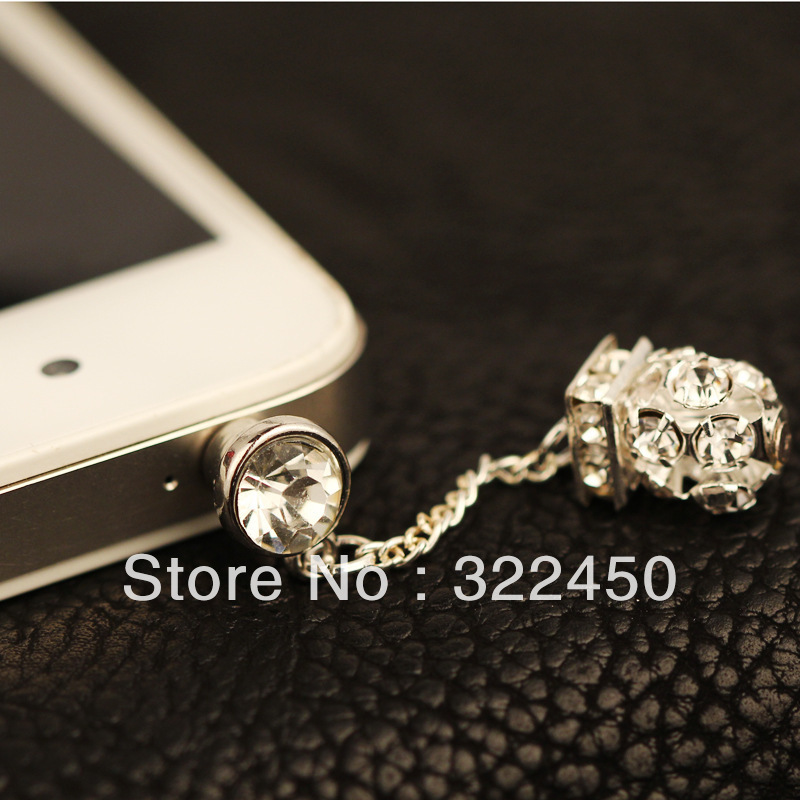 30pcs/Lot,white crystal ball hone Dust Plug for 3.5mm Earphone Jack,cell phone dust plug,dustproof plug For headphones Jack(China (Mainland))
