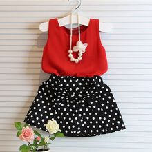 2016 Summer Baby Girls Clothing Sets Chiffon Sleeveless Tank Tops Vest polka dot Skirt Outfit Kids Clothes Suit