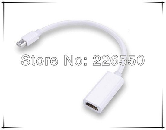 5pcs/lot White mini displayport to hdmi cable adapter mini displayport male to hdmi female for apple mac book(China (Mainland))