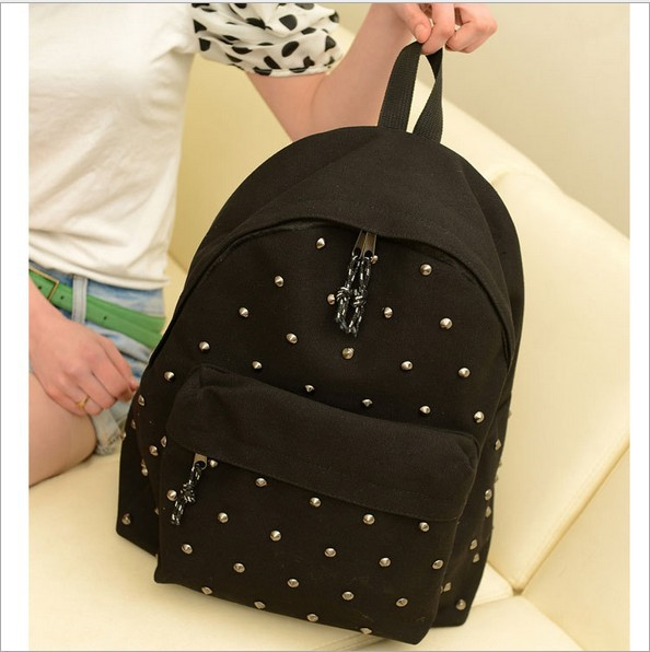 2015 Fashion Cool Men Women Canvas Backpack Black Casual Rivet Backpack Vintage Children Student School Bag SD50-107(China (Mainland))