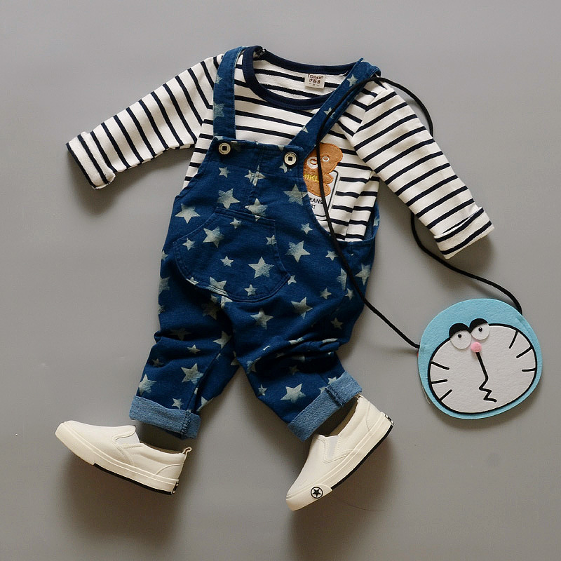 Baby Boy Clothing Set 2016 Autumn Overalls For Baby Boys Stripe T shirt+Jeans Pants Infant Clothes Romper Kid Clothes(China (Mainland))
