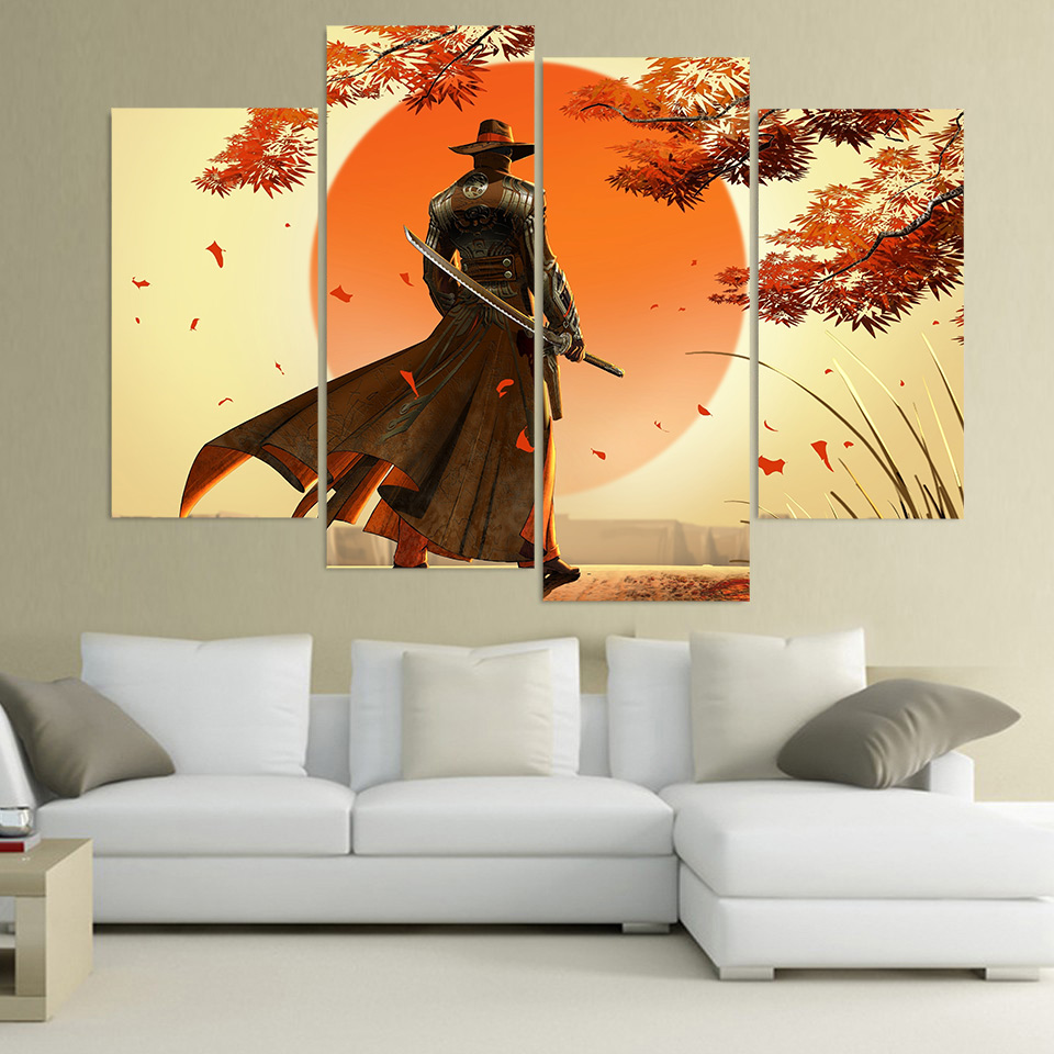 Wall Art Canvas Painting Red Steel ubisoft HD Printed 4 Pieces Poster Room Decor Pictures for Living Room Free Shipping XA439C(China (Mainland))