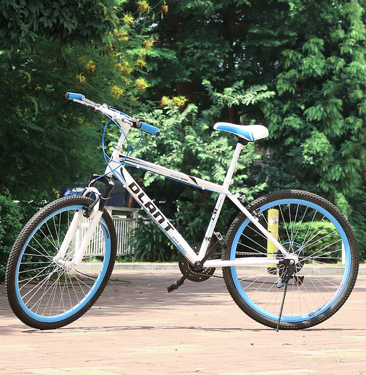 Hot New Mountain Bike Double V Brake Bicycle White Blue Frame Bike Outdoor Leisure Sports Bike