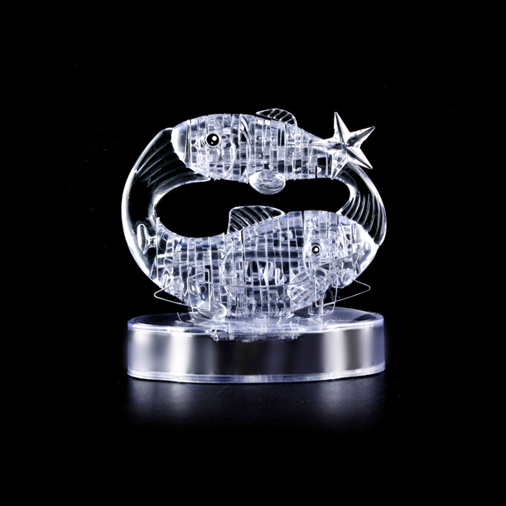Coolplay 3D Crystal Puzzle Translucent DIY 3D Puzzle Kids Toys Lovely Gift Fish Crystal Puzzle Special Educational Toys(China (Mainland))
