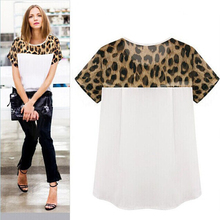 Leopard Print Woman blouses Summer Chiffon clothing Patchwork Top Feminina Round Neck Short Sleeve Casual Clothing Blusas S-3XL