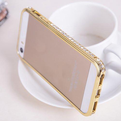 for iphone 5 bumper diamond rhinestone , for iphone 5s bumper handmade , for iphone 5 metal bumper(China (Mainland))
