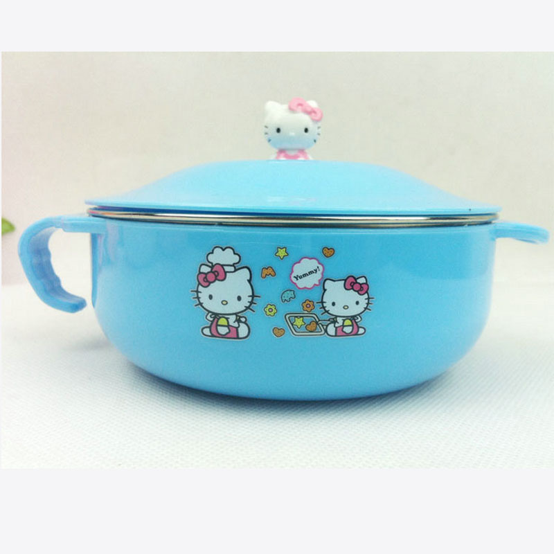 Super Kawaii Bowknot Hello Kitty Baby Feeding BOWL insulation environmental unbreakable Kindergarten & Home Rice FOOD Bowl(China (Mainland))