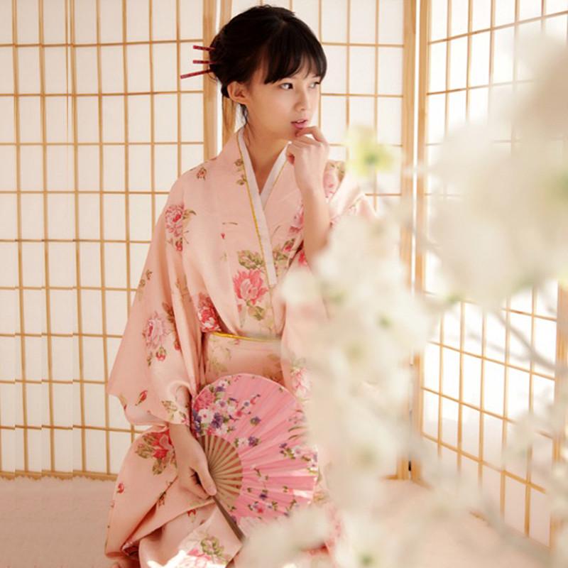 Baño Japones Tradicional:Sweet Pink Kimono Japonés Tradicional Yukata Mujer Vestido De Niña
