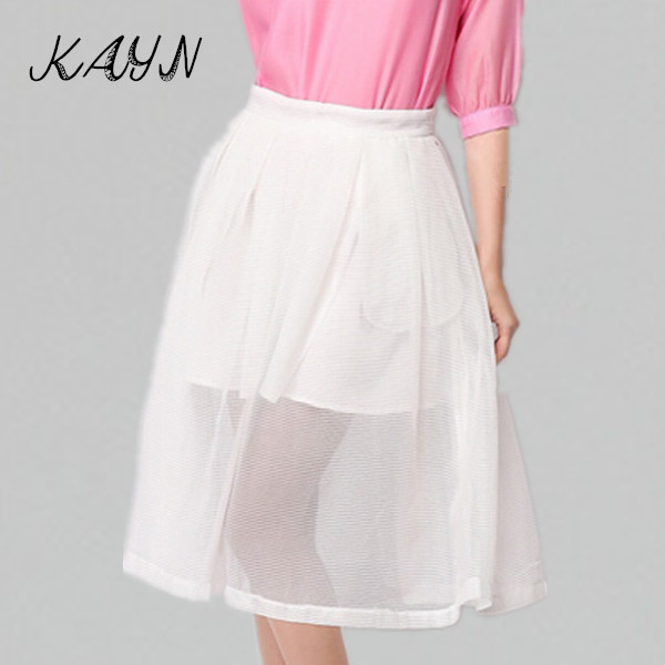 2015 Summer Fashion Women High Waist Knee Length Skirt Ladies Solid Perspective Tulle Ball Gown - KAYN Boutique Clothing store