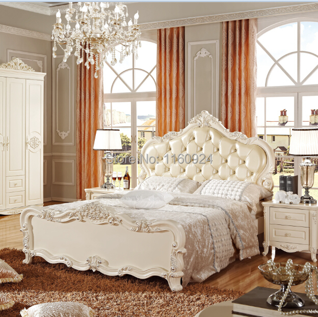 European Style Four Pieces Wooden Bedroom Furniture Set: Luxury Bed,Wardrobe,Beside table and Dressing Mirror(China (Mainland))