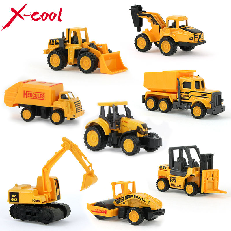 8 types mini Alloy Diecast Car construction vehicle Engineering Car Dump-car Dump Truck Model Classic Toy for boy kid XC1355C(China (Mainland))