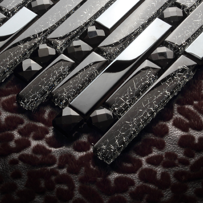 black diamond metal stainless steel crystal glass mosaic tiles EHM1051 for kitchen backsplash tile bathroom shower wall cover(China (Mainland))