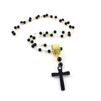 Black Cruz Pendant Beads Chains Necklace for Women Top Sale Fashion Designer Jewelry