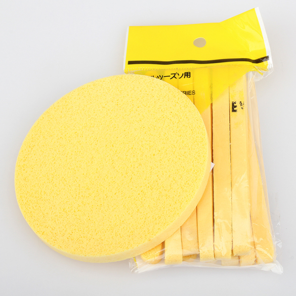 6 Pair New Yellow Compressed Sponge Foam Mat Pad Skin Care Cleaning Washing Puff Pad Face Cleansing Mat Sticks(China (Mainland))