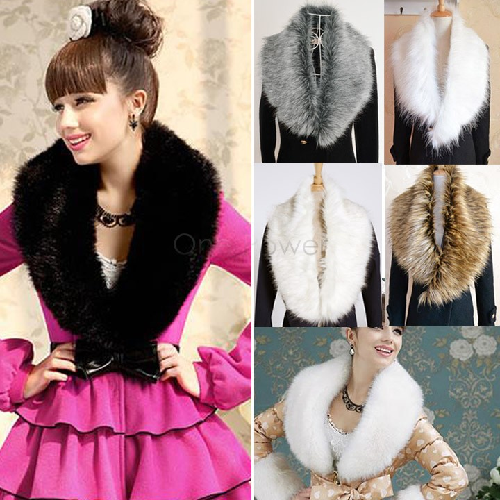 New Fashion Winter Ladies Fur Scarf Faux Fur Collar Faux Fur Shawl Cap Scarves False Collar For Women Overcoat 25(China (Mainland))