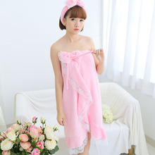 New Girls Lovely Towel Soft Lace Women Flannel Bath Robe Strapless Sleep Robe Hair Bundle For Gift Hight Quality(China (Mainland))