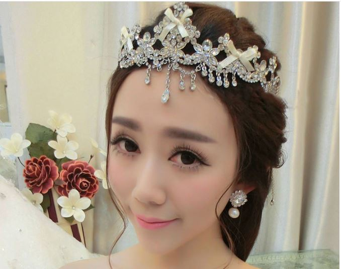 Hot Sale Wedding Bridal Hair Accessory Crystal Rhinestone Tiara Crowns Priness Queen Pageant Headband bow Hair Jewelry SP039(China (Mainland))
