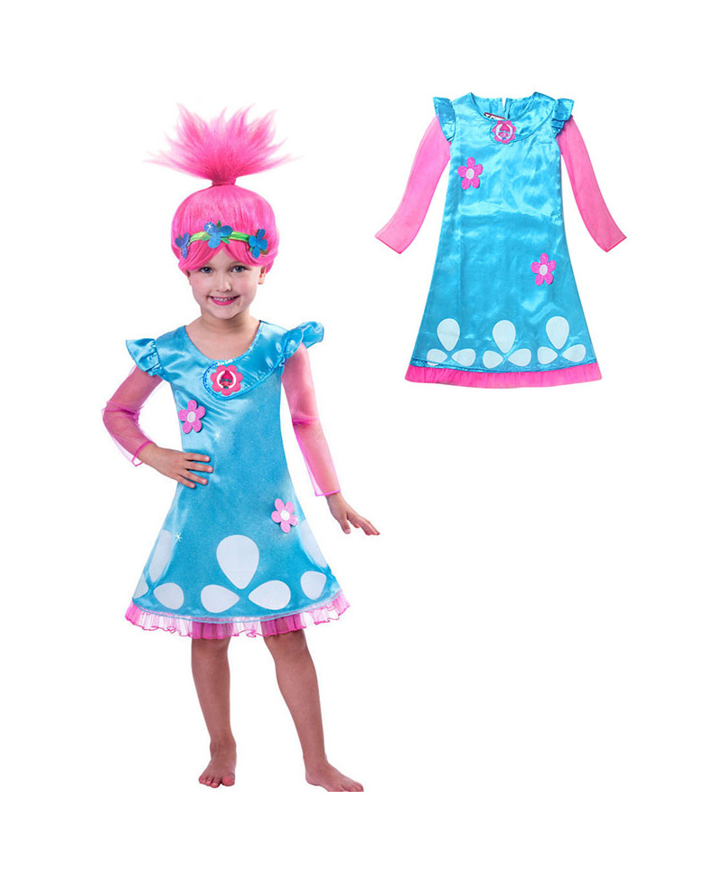 Hot Sale Troll Costumes Pattern Girl Dress Costumes For Girls Carnival Kids Costumes Summer Girl Dress Trolls Clothes 4-12Year