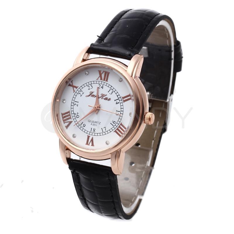 Women Quartz Wrist Watch Black Leather Band Round White Dial Roman Numerals<br><br>Aliexpress
