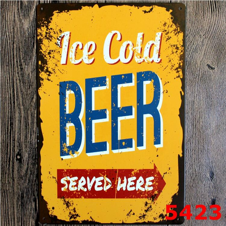 20X30cm Ice Cold Beer Served Cafe Bar Retro Iron Metal Painting Signs Tin Sign Plate Wall Art Deco Vintage Iron Painting 5423(China (Mainland))