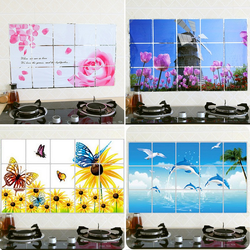 45cm*75CM Flower Kitchen Wall Stickers Decorative Home Decor Art Accessories Decorations Supplies Gear Items Stuff Products(China (Mainland))