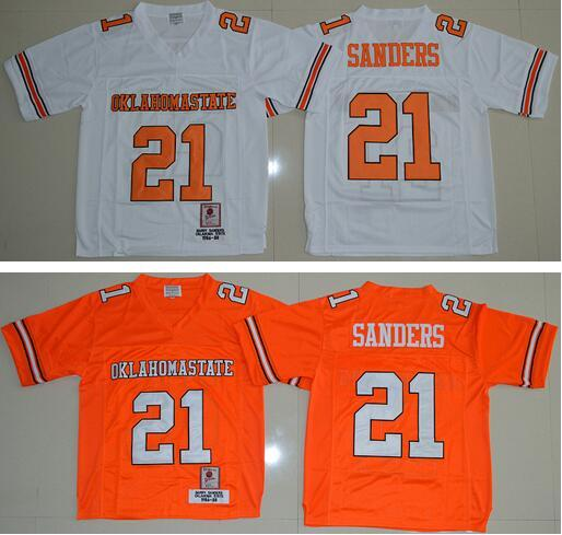New Oklahoma State 21 Barry Sanders Football Jerseys College Shirt Uniform Team Color Orange Alternate White Embroider Logos(China (Mainland))