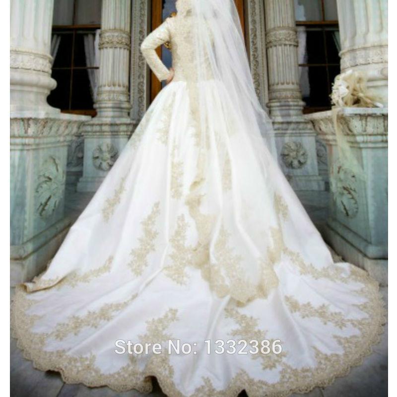 Hotgold dentelle Appliuqes dubaï Abaya robe de mariée Ka musulman longue robe pleine / manches longues robe de mariée turque dans Robes de mariée de