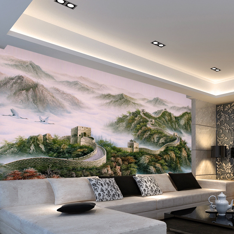 Free Shipping ink landscape painting Great Wall mural bedroom living room coffee shop TV backdrop wallpaper murals(China (Mainland))