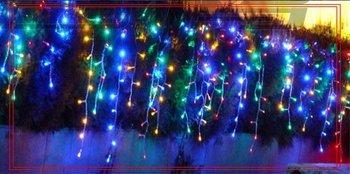 10PCS 110V / 220V 3.5M 100 RGB LED Christmas Curtain Lights ,Xmas Decoration Light With End Plug ,10 Colors , Free drop shipping