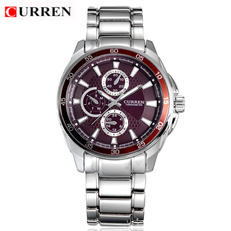 CURREN Casual Chronometer Quartz Watch with Round Dial/Embedded Dials/Strip Scale-Blue 8076(China (Mainland))