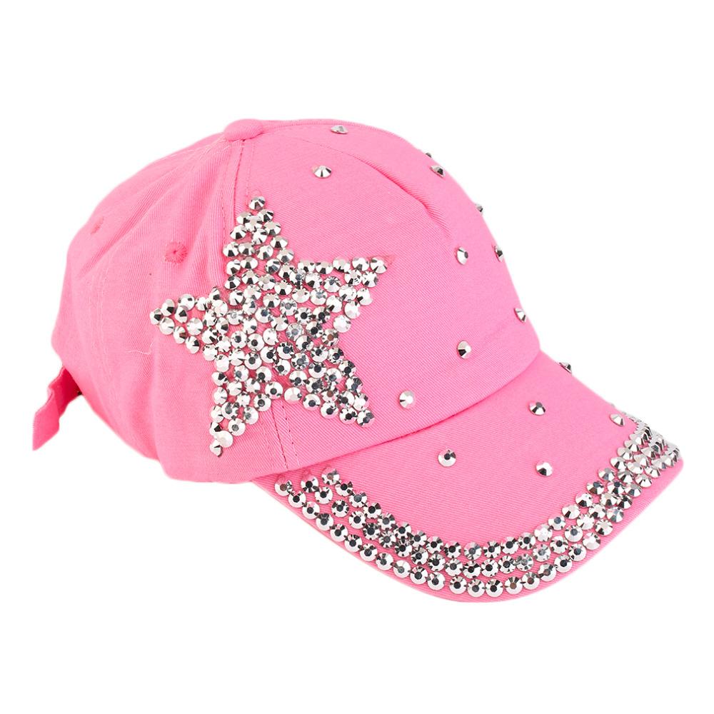 High Quality Women Girls Rhinestone Star Shaped Studded Cotton Hat Bling Shining Pink Baseball Cap Summer(China (Mainland))