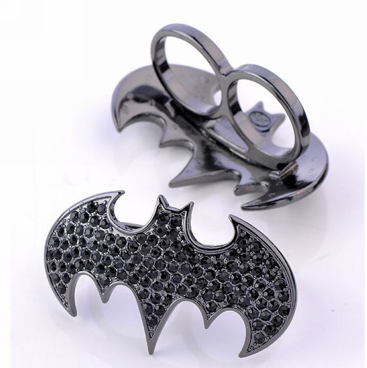 Two finger Batman symbol ring size 7-7 1/2 vintage punk men jewelry the rings ring o rings for women accessories new 2014 coupon(China (Mainland))