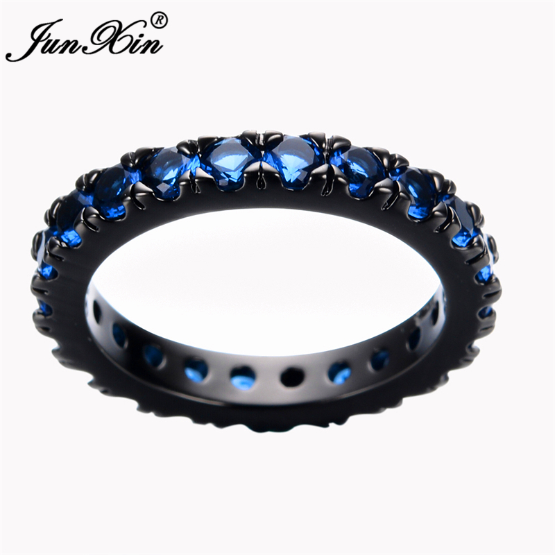 Size 6/7/8/9/10 Women Fashion Jewelry Rings Blue Sapphire Finger Ring 10KT Black Gold Filled Promotion RB0056(China (Mainland))
