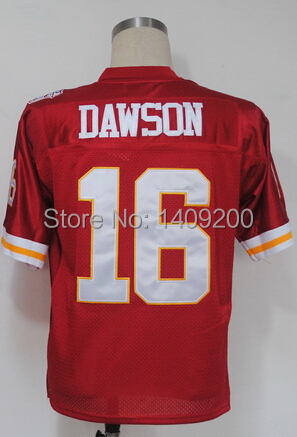 Free Shipping Kansas City #16 Len Dawson American Football Jerseys Dawson throwback Stitched Blue and White mix order(China (Mainland))