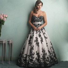 2017 New Sexy Charming Ball Gown Sweetheart White Black Applique Wedding Dress Bridal Gowns vestido de noiva robe de mariage(China (Mainland))