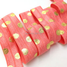 "Buy 5/8"" Polka Dot Coral Fold Elastic Gold Foil Dot Print FOE High Foldover Elastic Ribbon Hair Accessories 10Y/Lot for $3.98 in AliExpress store"