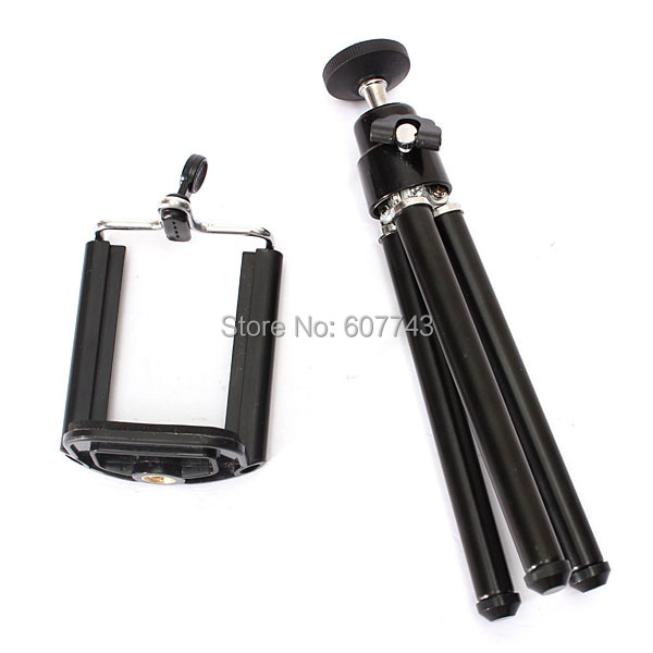 Pocket Mini Tripod + mobile phone clip for Cell Phone Camera for iPhone 6 6plus 5 5s for Samsung galaxy S2 S4 i9200 I9500(China (Mainland))