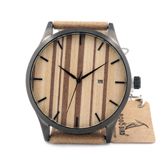 2016 Stainless Steel Mens Watches Top Brand Luxury Mens Wooden Dail Quartz Analog Wristwatch with Auto Date relogio masculino