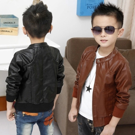 2015 New Boys Coats Faux Leather Jackets 2 Colors Children Fashion Outerwear Spring & Autumn & Winter, MC031(China (Mainland))