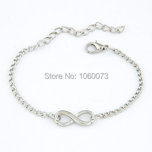 Fashion silver Gold Infinite Bracelet Infinity Bangle Charm chain bracelets Jewelry Wholesale For Women girl Gift(China (Mainland))