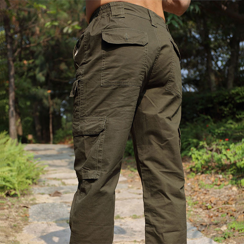 Cotton Outdoor Anti-UV Sports Camping Hunting Pants Men's Multi-pocket Tooling Travel Cycling Mountaineer Straight jeans Washed(China (Mainland))