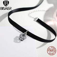 Buy Fashion Tattoo Necklace Chokers Black 925 Sterling Silver Short Crown Black Chokers Necklace Women European Fashion Jewelry for $8.20 in AliExpress store