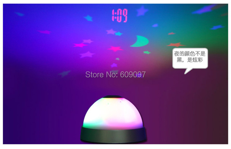 Wholesale 100 pcs/lot New Magic Star Sky LED Time Projection Projecting Digital Alarm Clock with Color Night Light(China (Mainland))