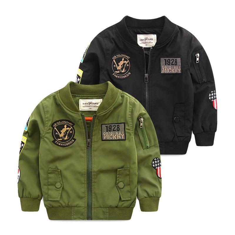 Spring Autumn Jackets for Boy Coat Bomber Jacket Army Green Boy's Windbreaker Winter Jacket Mickey Print Kids Children Jacket