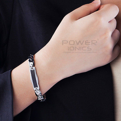 Power Ionics Titanium Germanium Magnetic Black Fiber Bracelet Balance Band<br><br>Aliexpress