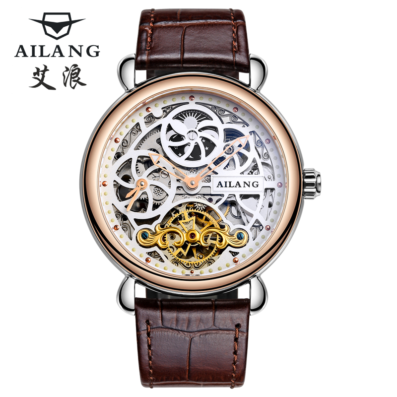 Deluxe automatic mechanical watch dial dual time zone function group male sun and moon stars display leather watch skeleton(China (Mainland))