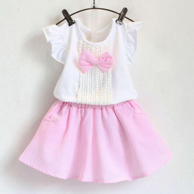 2016 горячая новинка девушки лето симпатичные с бантом fly футболка + полосы костюм дети устанавливает одежда