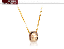 Rose Gold Color Tungsten Round Pendant Necklace Stainless Steel gold plated Women Pendant party date jewelry free shipping(China (Mainland))