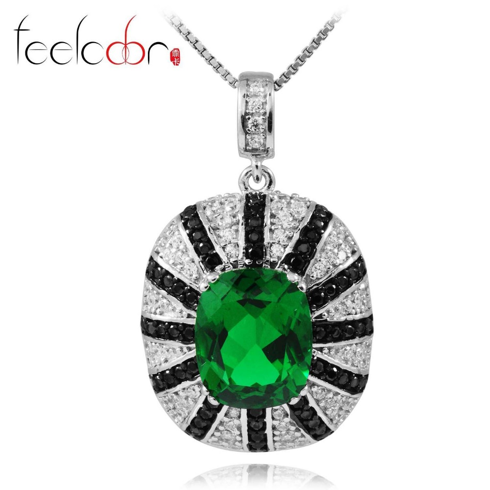 Feelcolor High Quality 5.9ct Nano Russian Emerald Spinel Pendant For Women Solid 925 Sterling Silver 18k Black Gold New Brand<br><br>Aliexpress