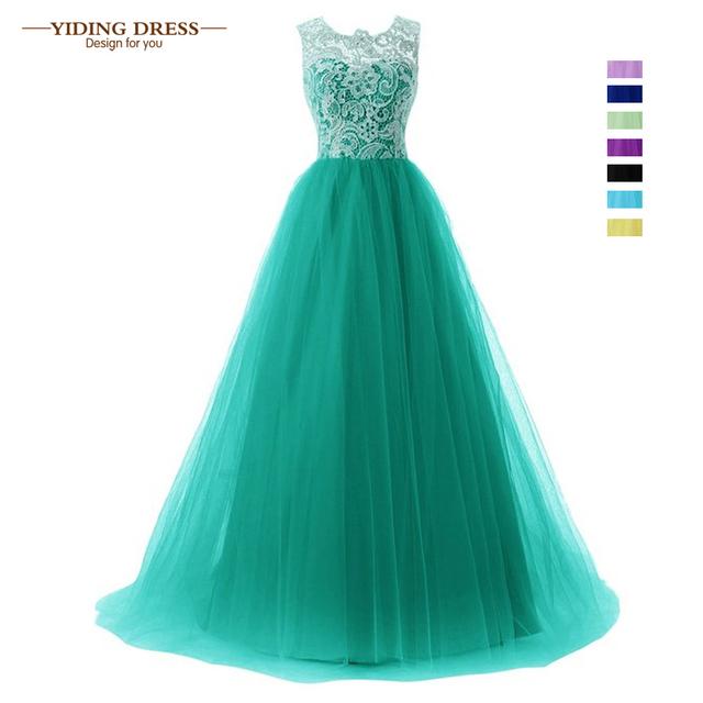 Зеленый кружева платье-линии формальное длинное вечернее платье без рукавов ну вечеринку ...